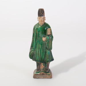 Chinese Green Glazed Pottery Attendant
