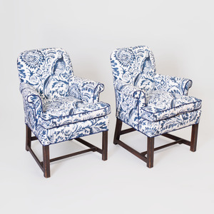 Pair of Mahogany Blue and White Cotton Upholstered Armchairs, Designed by Tom Britt