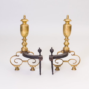 Pair of Federal Style Brass Andirons