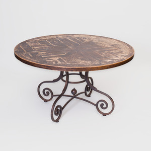Stained Wood and Iron Center Table, Designed by Tom Britt