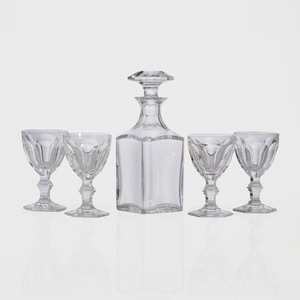 Set of Sixteen Baccarat Glasses with a Matching Decanter and Stopper