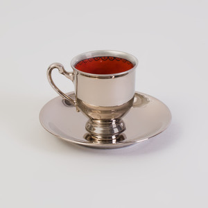 Set of Four Silver Bavarian Lusterware Demitasse Cups and Saucers