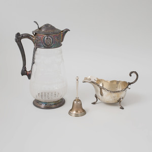 Victorian Crested Silver-Mounted Engraved Glass Claret Jug
