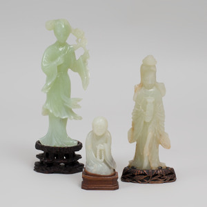 Three Chinese Carved Hardstone Figures