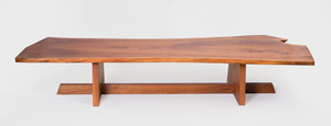 Walnut Slab Coffee Table, in the Style of Nakashima