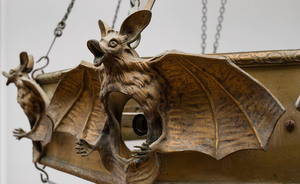 Art Nouveau Patinated-Bronze Fox Head Three Light Chandelier