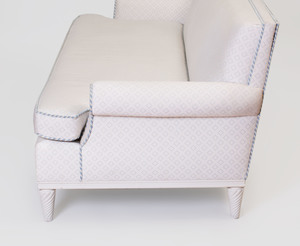 Tom Britt Modern White Painted and Upholstered Sofa, After a Model by Elsie de Wolfe