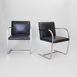 Pair of Mies van der Rohe for Knoll Chrome and Grey Leather 'Brno' Chairs