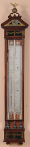 DUTCH NEOCLASSICAL MAHOGANY AND REVERSE-PAINTED GLASS BAROMETER / THERMOMETER