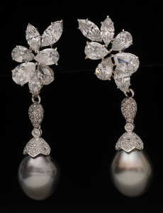 PAIR OF WHITE GOLD, SIMULATED DIAMOND, CULTURED PEARL AND DIAMOND EAR CLIPS
