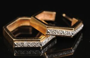 PAIR OF 14K GOLD AND DIAMOND HOOP EARRINGS
