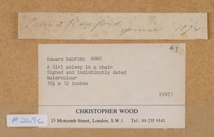 EDWARD RADFORD (1831-1920): ASLEEP IN A CHAIR