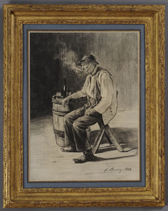 FRANCOIS BONVIN (1817-1887): SEATED MAN LEANING ON A BARREL AND SMOKING A PIPE