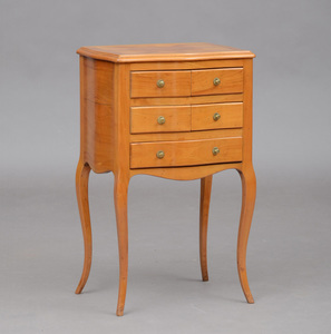 ITALIAN ROCOCO BLEACHED WALNUT PARQUETRY BEDSIDE TABLE