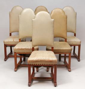 George Walton, Glasgow School: Set of Fourteen English Oak Arts and Crafts Dining Chairs