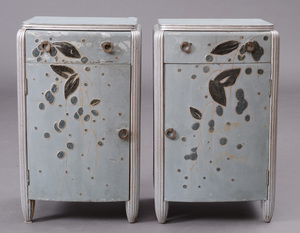 PAIR OF FRENCH ART DECO PAINTED AND SILVER-GILT BEDSIDE CABINETS