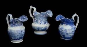 THREE STAFFORDSHIRE BLUE TRANSFER-PRINTED PITCHERS