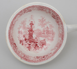 STAFFORDSHIRE RED-TRANSFER PRINTED TWO-HANDLED TUREEN AND COVER