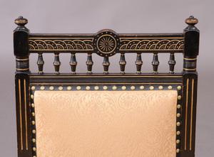 English Aesthetic Movement Ebonized and Parcel-Gilt Armchair, Designed by Eastlake for Jackson & Graham, Circa 1870