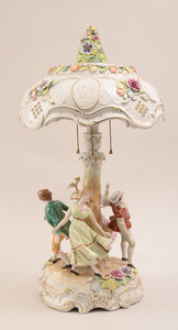 German Porcelain Figural Table Lamp