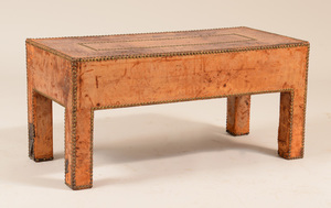Brass-Studded Leather Low Table