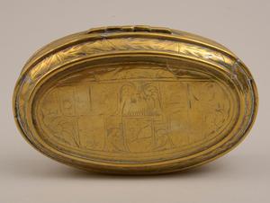 Dutch Engraved Brass Tobacco Box