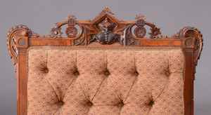 Victorian Carved Walnut Armchair, American