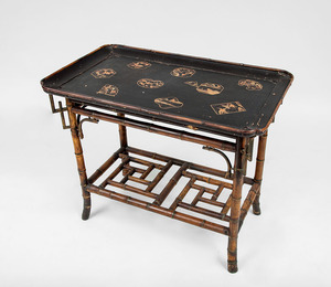 Japanese Black Lacquer Tray, on Bamboo Stand