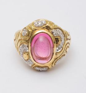 SEQUOIA 18K YELLOW GOLD, PINK TOURMALINE AND DIAMOND RING