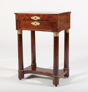CLASSICAL GILT-BRONZE-MOUNTED MAHOGANY WORK TABLE, NEW YORK, IN THE MANNER OF DUNCAN PHYFE