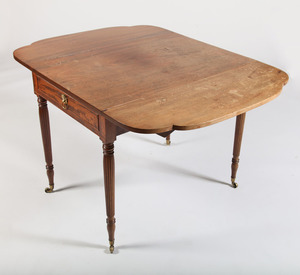 FERDERAL CARVED MAHOGANY PEMBROKE TABLE, NEW YORK, ATTRIBUTED TO GEORGE WOODRUFF