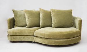 CONTEMPORARY GREEN VELOUR UPHOLSTERED TWO-PIECE MODULAR SOFA