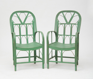 PAIR OF GREEN PAINTED WOOD AND BENT WILLOW ARMCHAIRS