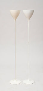 TWO WHITE-PAINTED METAL SWISS FLOOR LAMPS, BY MAX BILL, SWITZERLAND