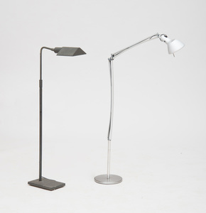 TWO MODERN METAL SWING-NECK FLOOR LAMPS