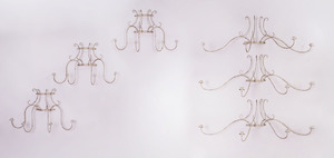 SET OF SIX CONTINENTAL WHITE PAINTED IRON FOUR-LIGHT SCONCES