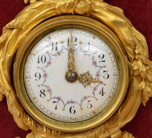 Louis XVI Style Gilt-Bronze Petit Cartel Clock