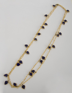 Five Gilt-Metal and Colored Glass or Simulated Lapis Lazuli Long Chains