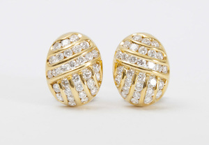 PAIR OF TIFFANY & CO. 18K GOLD AND DIAMOND EARCLIPS