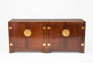 Chinese Brass-Mounted Hardwood Cabinet, Modern