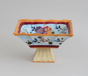 Modern Chinese Stemmed Glazed Pottery Fruit Compote