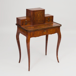 Louis XV Provincial Kingwood and Fruitwood Marquetry Bonheur du Jour