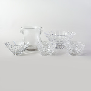 Baccrat Glass Bowl, Two Tiffany Glass Bowl, an Orrefors Glass Bowl, and an Ice Bucket