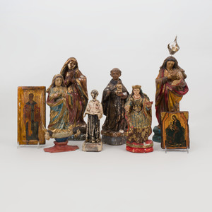 Group of Six Painted Santos Figures and Two Icons