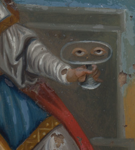 Continental Reverse Glass Painting of a Saint
