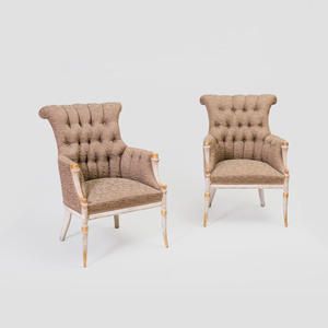 Pair of Neoclassical Style White Painted and Parcel-Gilt Bergères