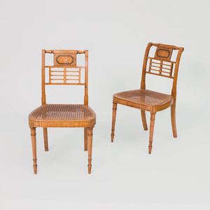 Pair of Neoclassical Ebonized Beech and Caned Side Chairs