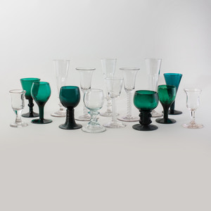 Group of Twelve Green Glasses, Six Colorless Glass Champagne Flutes and Five Additional Glasses