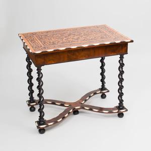 Italian Baroque Style Bone Inlaid Mahogany and Lemonwood Marquetry Table