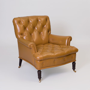 Mahogany Tufted Leather Upholstered Library Chair, Designed by Peter Marino